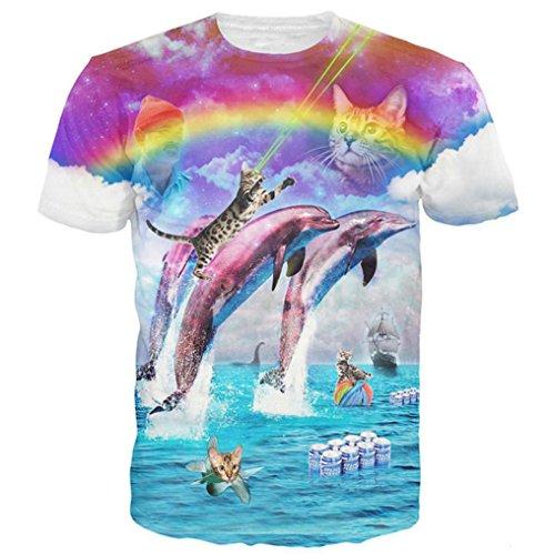 Funny Rainbow Dolphin Splash with Cats t Shirts