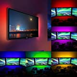 Startview 50-200CM USB LED Strip Light TV Back Lamp 5050RGB Colour Changing+Remote Control, Make Your Christmas Unbeatable beautiful (50CM, No Waterproof)
