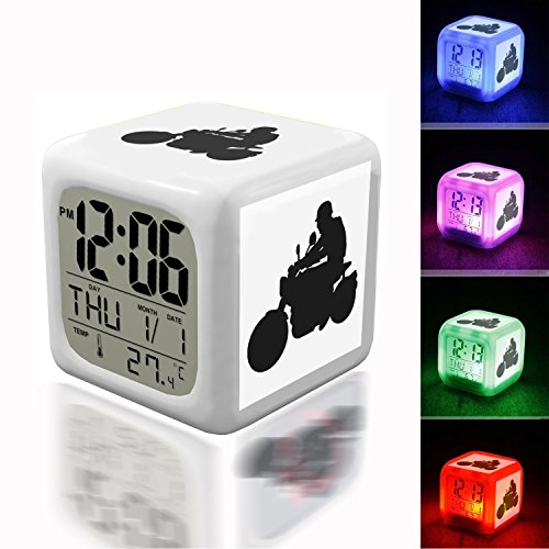 Wake Up Alarm Thermometer Night Glowing Cube 7 Colors Clock LED for Bedroom&Table,School Desk Customize 408.Motorcycle, Speed, Transportation, Sport