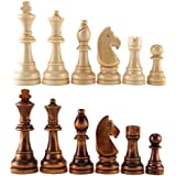 """AMEROUS Chess Pawns Wooden Chessmen with 4.55"""" King Nature Wood Chess Pieces Hand Carved Figure Figurine, French Staunton Style"""