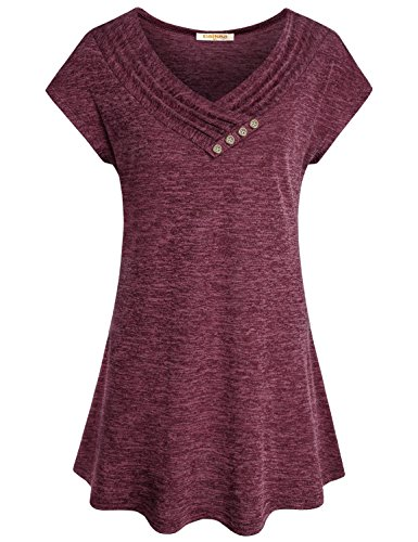 Baikea Womens Cap Sleeve Cowl V Neck Loose Flare Tunic Top Blouse with Button Trim