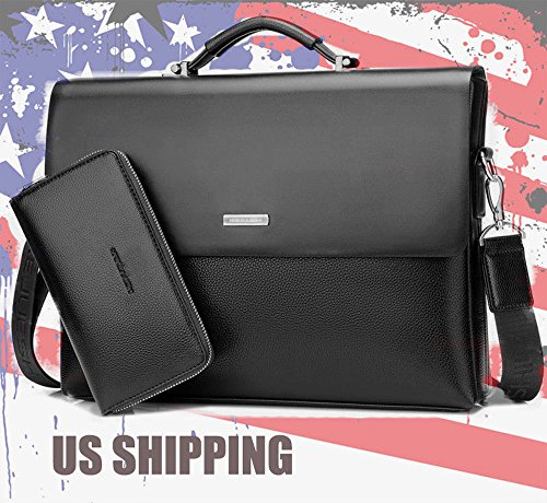 Mens Leather Briefcase Laptop Handbag Messenger Business Bag (BLACK)