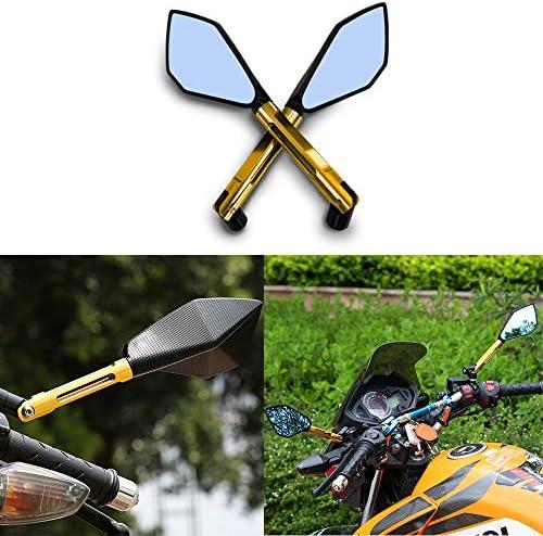 オートバイ用リアビューミラー ユニバーサル 8mm 10mm CNC アルミニウム ハンドルバー エンド ミラー スクーター サイドミラー ゴールド 1組
