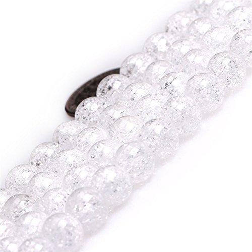 White Rock Quartz Beads for Jewelry Making Natural Gemstone Semi Precious 8mm Round Crackle 15
