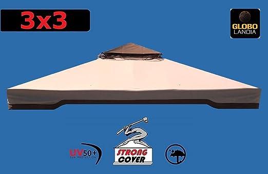 417177A Toldo para pérgola 3 x 4 400 g, tela reforzada con PU, recambio con chimenea cortavientos, recambio antilluvia 3 x 4., TELO 3X3 SPALMATO IN PVC: Amazon.es: Hogar