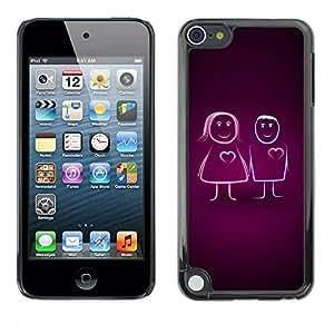 LASTONE PHONE CASE / Carcasa Funda Prima Delgada SLIM Casa Carcasa Funda Case Bandera Cover Armor Shell para Apple iPod Touch 5 / Cute Line Couple