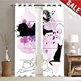 Hengshu Waterproof Window Curtain Girl with Sunglasses Lying on Couch Cat in Home Theme with Stains Animals Decorative Curtains for Living Room W84 x L96 Inch Black Lilac Lavender