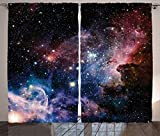 Ambesonne Space Decorations Collection, Stars Nebula, Colorful Explosive in Space Galaxy Astronomic Magical Picture Print, Living Room Bedroom Curtain 2 Panels Set, 108 X 84 Inches, Navy Pink For Sale