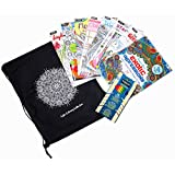 Adult Coloring Book Complete Kit - Includes 8 Stress Relieving Coloring Books, Colored Pencils and Henna Mandala Carrying Bag