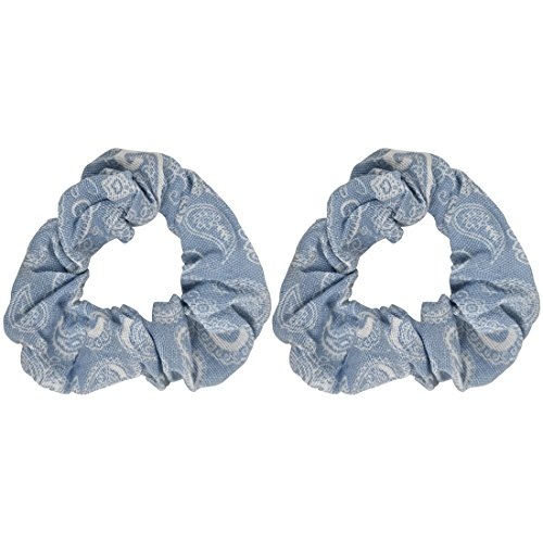 - Denim Paisley Patterned Scrunchy | 2 Pack | Chambray