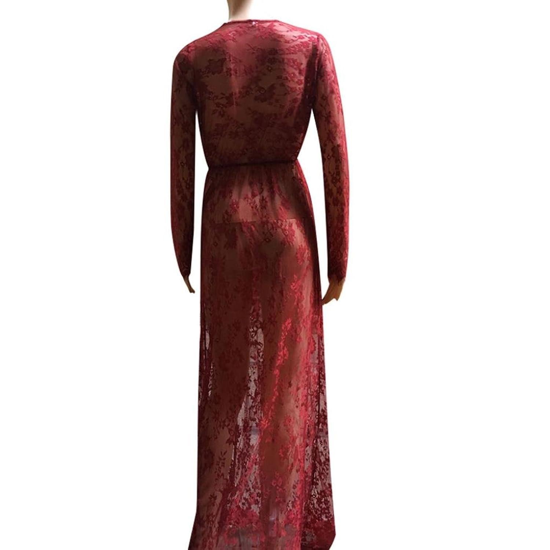 Sannysis Damen-Perspektive Taillen-Spitze-Blumenkleid: Amazon.de: Bekleidung