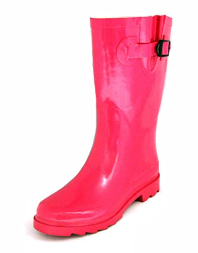 8f90de4258ec Townforst Womens Winter Rain Snow Flat Rubber Mid Calf Short Rainboot