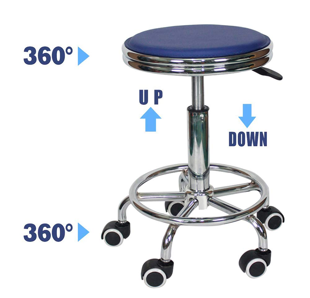 Bar Stools Chair Lift Rotate Stools, Beauty Salon Checkout Counter Front Desk Bar Stools Chair, 360° Swivel Ergonomic Bar Lifting Rotate Stools Chair-Blue by YANGYA