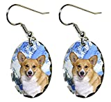 Canine Designs Pembroke Welsh Corgi Scalloped Edge Oval Earrings