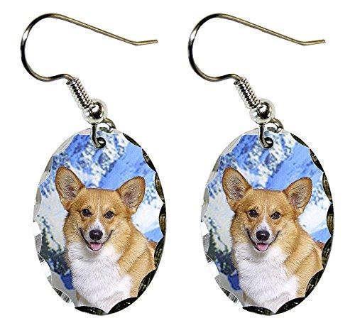 (Canine Designs Pembroke Welsh Corgi Scalloped Edge Oval Earrings)