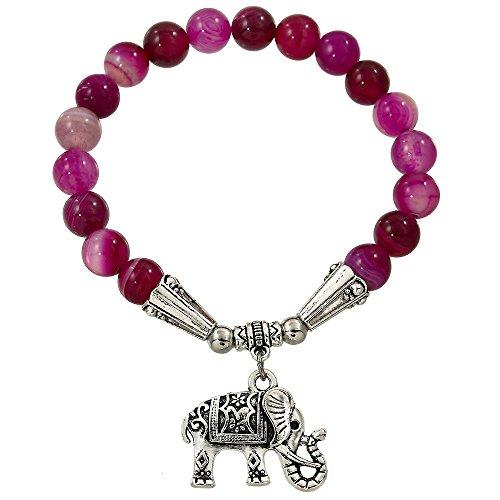 Falari Elephant Lucky Charm Natural Stone Bracelet Fuchsia Agate B2448-FA