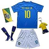 KID BOX Brazil Neymar JR #10 Away Blue Football Soccer Kids Jersey Short Socks Set Youth Sizes (Away (2018), 7-8 Years)
