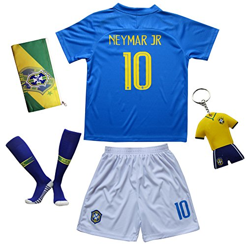 KID BOX Brazil Neymar JR #10 Away Blue Football Soccer Kids Jersey Short Socks Set Youth Sizes (Away (2018), 12-13 - Jerseys 10 Football Kids