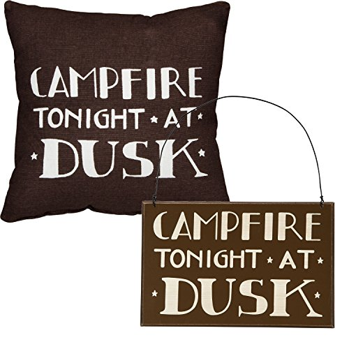 Campfire Tonight At Dusk - Camper's Gift Set - Decorative Sign and Throw Pillow - Cabin Lake Country (Log Cabin Primitive)
