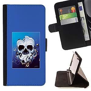 Momo Phone Case / Flip Funda de Cuero Case Cover - Derretido cara del cráneo - Samsung Galaxy S5 Mini, SM-G800