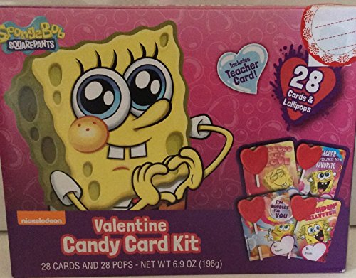Spongebob Square pants Valentines Day Cards Candy School lollipop kit 28 cards and lollipops Teachers Card Included ()