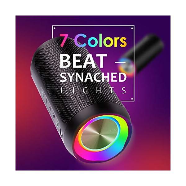 Enceinte Bluetooth Portable, COOCHEER 24W Haut-Parleur Portable Bluetooth avec lumière, IP68 Etanche Haut-parleurs sans Fil Portables pour extérieur, TWS, Temps de Lecture supérieur à 20 Heures 3
