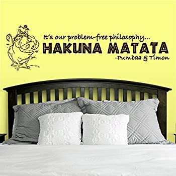 Wall Decal Vinyl Sticker Decals Art Decor Design Sign Quote Hakuna Matata  Film Timon Pumba Kids Lion King Bedroom Dorm Modern Style (r402)