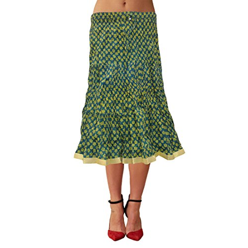 Tier Crinkle Skirt (Sttoffa Skirt Beautiful Lace Attach Women Wear Printed Cotton Knee Length Crinkle Tier Skirt)