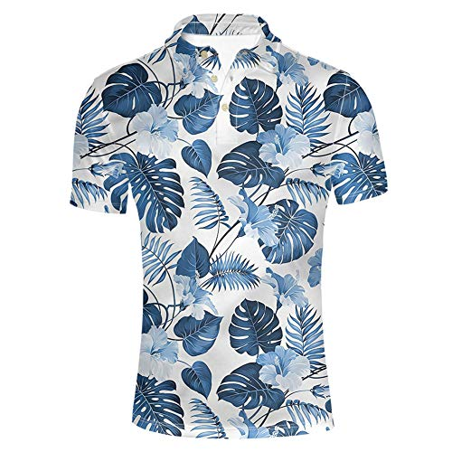 HUGS IDEA Novelty Men's Pique Golf Tennis Shirt Summer Palm Monstera Tropical Leaf Print Short Sleeve Hawaii Aloha T-Shirt ()