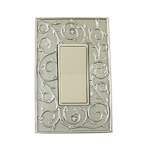 - Meriville French Scroll 1 Rocker Wallplate, Single Switch Electrical Cover Plate, Pewter