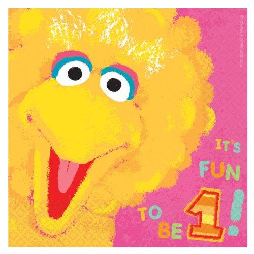 Sesame Street 1st Birthday Big Bird Lunch Napkins (Sesame Street Party Big Bird Lunch Napkins)