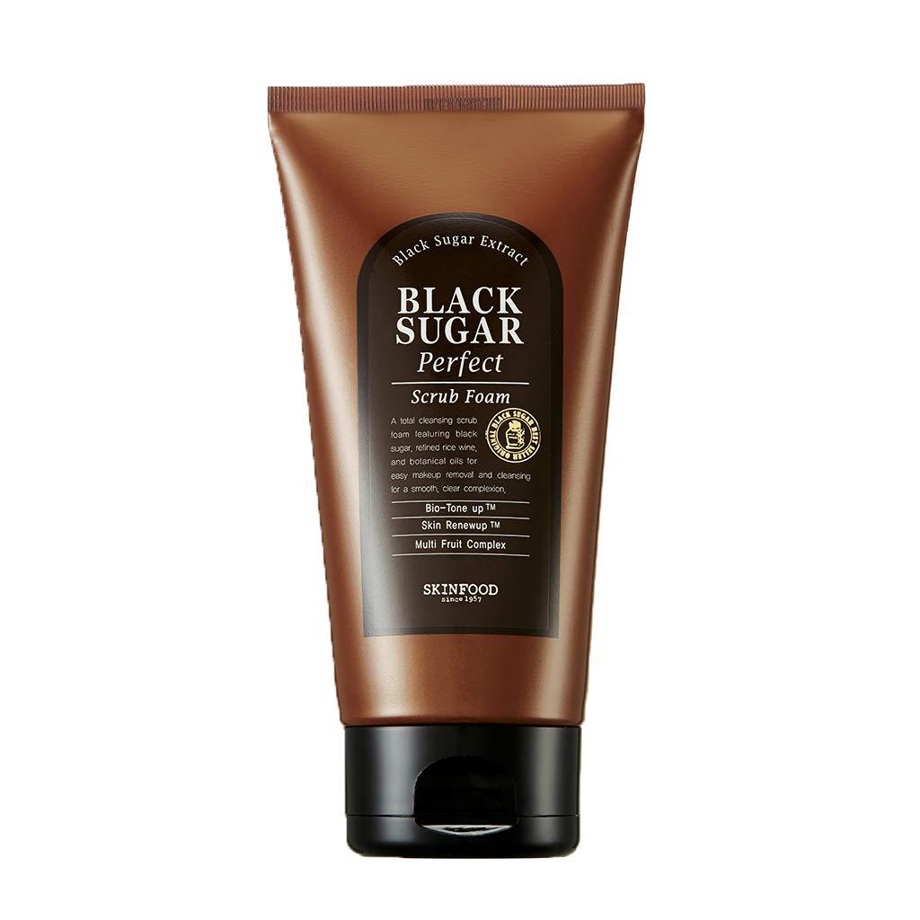 SKIN FOOD Black Sugar Perfect Scrub Foam 6.35 oz (180g) - Detoxifying Pore Scrub & Exfoliator Soft & Rich Bubble Facial Foam Cleanser, Removes Dead Skin Cells, Skin Smooth and Moisturizing