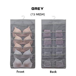 Hoomzia Hanging Closet Organizer Space Saver Bags, 15-Pocket Dual Sided Wall Shelf Wardrobe Organizers Storage Bags Oxford Cloth with Hanger (Grey)