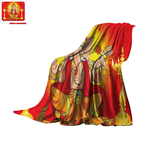 Sacred Digital Printing Blanket Deepawali Festival Ceremony Theme Religious Figure with Lotus and Axe Print Oversized Travel Throw Cover Blanket 90