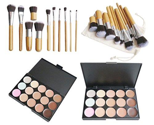 15 Color Concealer Palette Kit with 11pcs Bamboo Brush Face Makeup Contour Cream(CM0001 CM0021)
