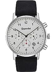 Gigandet Minimalism Reloj Caballero Dual Time Watch Analógico con Pulsera de Cuero G21-001