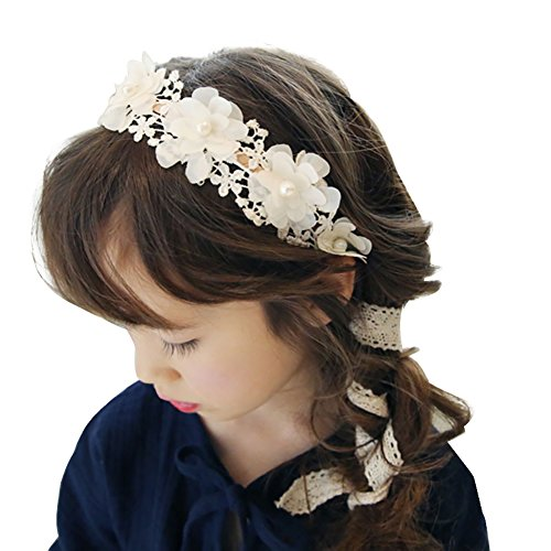 Childrens Flower Fancy Dress Costume (Floral Wedding Lace Headband, Princess Vintage Modern Style Headband For Girls (White and ivory))