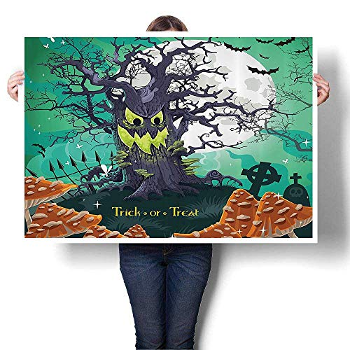 SCOCICI1588 Canvas Wall Art Trick or Treat Halloween Theme Dead Forest with Spooky Tree GravesMushrooms Art Stickers,40