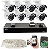 GW 8 Channel H.265 PoE NVR Ultra-HD 4K (3840x2160) Security Camera System with 8 x 4K (8MP) 2160p IP Camera, 100ft Night Vision, Outdoor Indoor Surveillance Camera