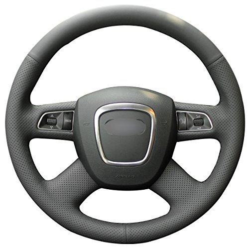Audi A4 Steering Wheel (MEWANT Black Artificial Leather Car Steering Wheel Cover for Audi Old A4 B7 B8 / A6 C6 2004-2011 / Q5 2008-2012 / Q7 2005-2011 (without shift paddle))