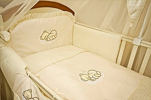 3 Piece Baby Nursery Bedding Set - SLEEPING BEAR To Fit (Cot 120X60, Check Cream) Babycomfort