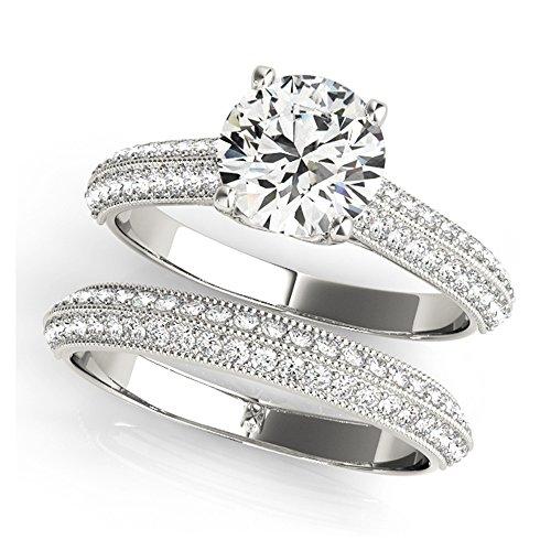 14K White Gold Unique Wedding Diamond Bridal Set Style MT51062