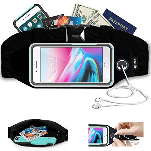Running Sports Belt?Waist Pack, Workout Fitness Fanny Gear for apple iPhone X, 8, 7, 6 Plus, SE, Samsung S8+ with Case (OtterBox Commuter & LifeProof, or others). Chest Pouch for Women & Men