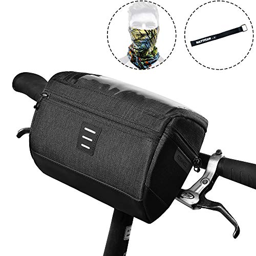 MattiSam Bike Handlebar Bag, Can be Used as Satchel, with | Detachable Shoulder Strap – Cold & Warm Insulation – Reflective Strip – Touchable Phone Pouch | Bike Basket, Bicycle Front Bag, Bike Pouch