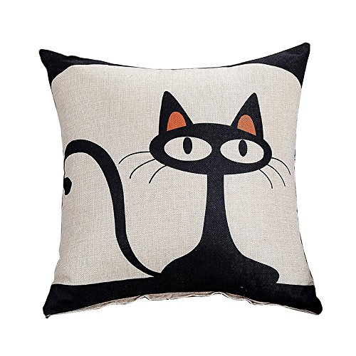 Jepeak Cotton Linen Throw Pillow Case Cushion Cover, Home Decorative Square Cartoon Pastoral Pillowcase for Sofa/Couch/Loveseat (18 x 18 Inches, Mr. Cat)