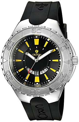 Croton Mens Stainless Steel Watch (CROTON Men's 'SUPER' Quartz Stainless Steel and Silicone Casual Watch, Color:Black (Model: CA301287BSYL))