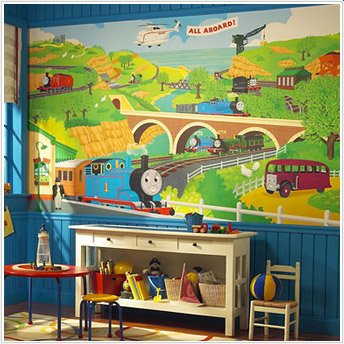 Train Chair Rail - Thomas the Train Chair Rail Prepasted Mural 6' x 10'