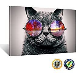 Creative Art - Canvas Prints Wall Art Pop Galaxy Glasses Cat Funny Art Poster Print on Canvas Modern Wall Decor Stretched Gallery Wrap Giclee Print 16''x24'' (Scenery Glasses Cat)