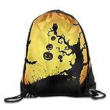 Halloween Moon Tree Pumpkin Lightweight Drawstring Bag Sport Backpack
