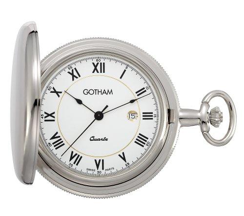 Gotham Men's Silver-Tone Polished Quartz Date Pocket Watch with Desktop Stand # GWC14070S-ST